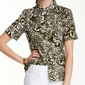 KATE SPADE/ Orchid Print Button Down Top